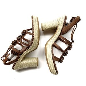 APEDAZZA Leather Stone Jute Sandals